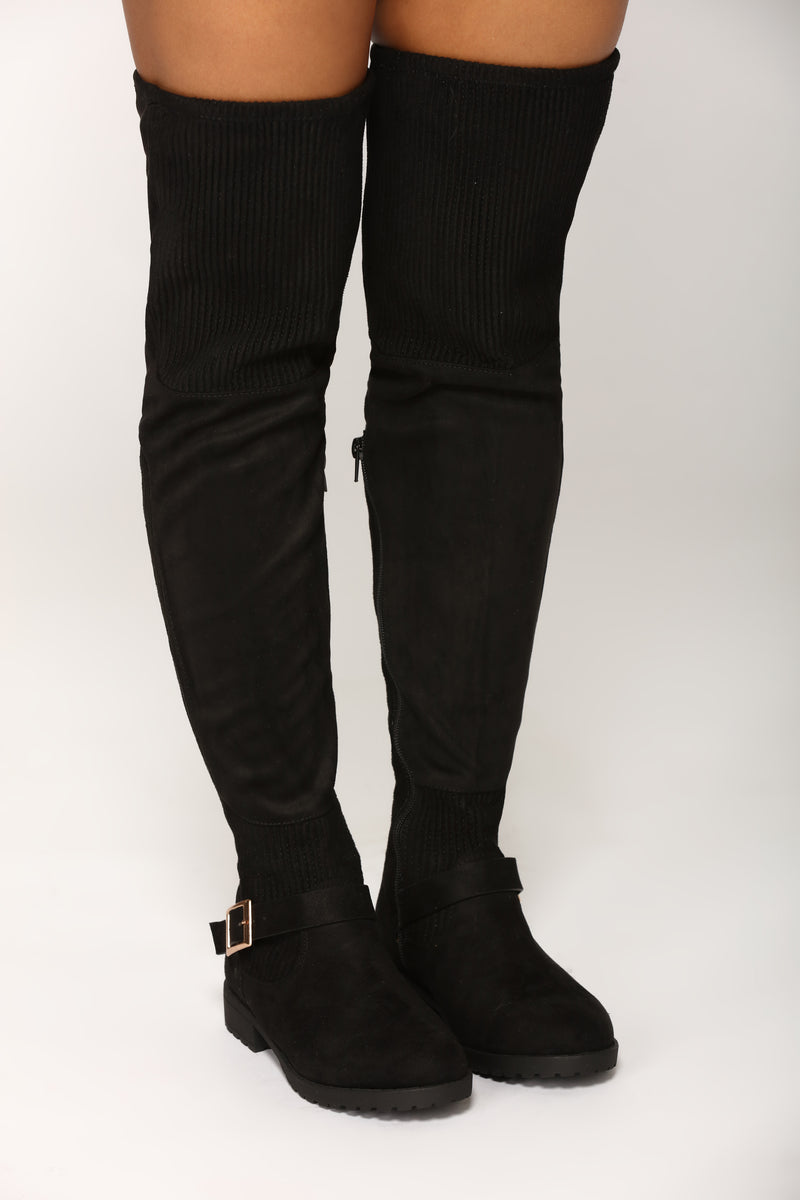 Out and About Combat Suede Boots - Black