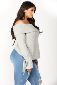 Guard My Heart Off Shoulder Sweater - Heather Grey