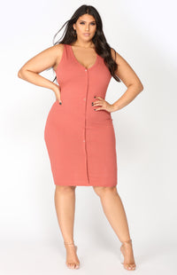 Alisa Ribbed Dress - Marsala Angle 5