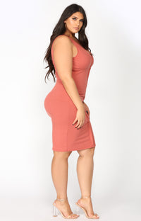 Alisa Ribbed Dress - Marsala Angle 7