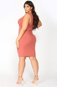 Alisa Ribbed Dress - Marsala Angle 8