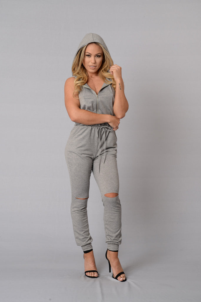 Gossip Jumpsuit - Heather Grey
