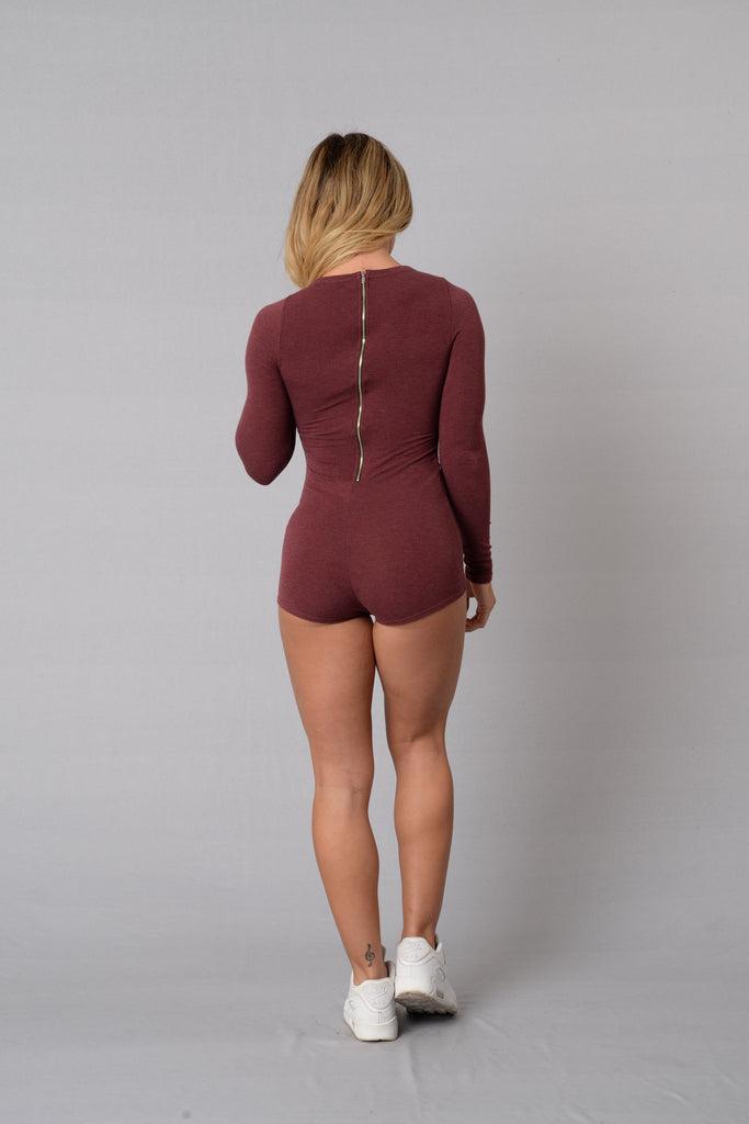 Lazy Sunday Romper - Burgundy