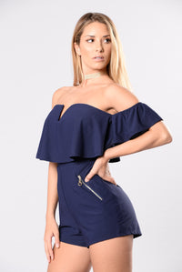 Must Be A Good Reason Romper - Navy
