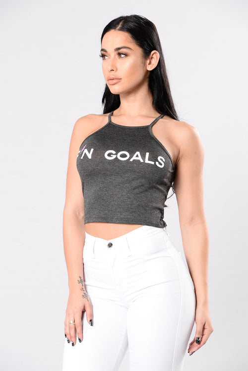 F'N Goals Crop Top - Charcoal