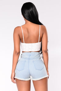 Fiona Lace Crop Top - Ivory