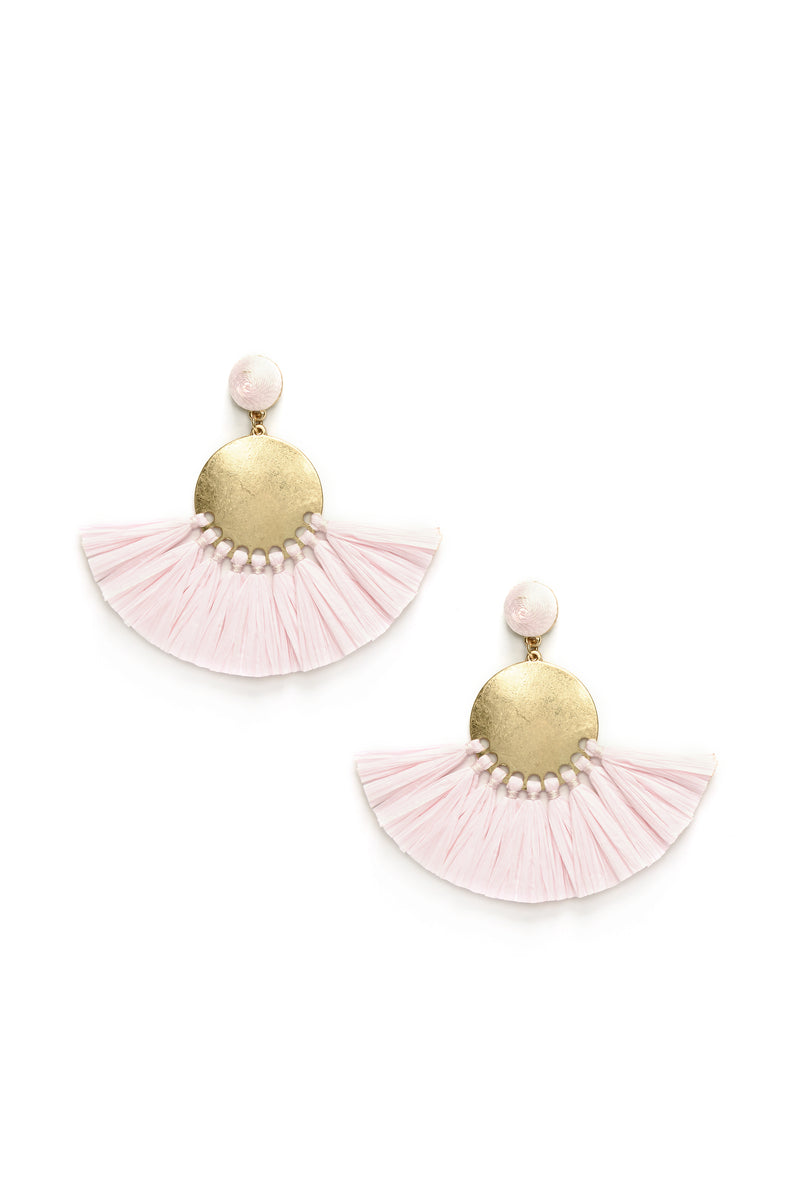 Sabrina Fringe Earrings - Light Pink