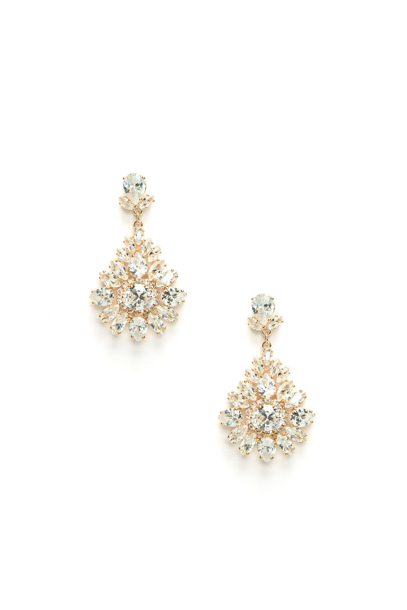 Athena Rhinestone Earrings - Gold