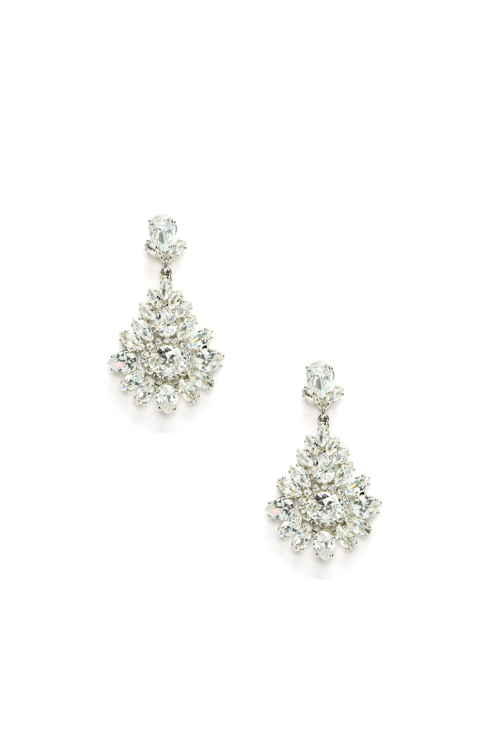 Athena Rhinestone Earrings - Silver