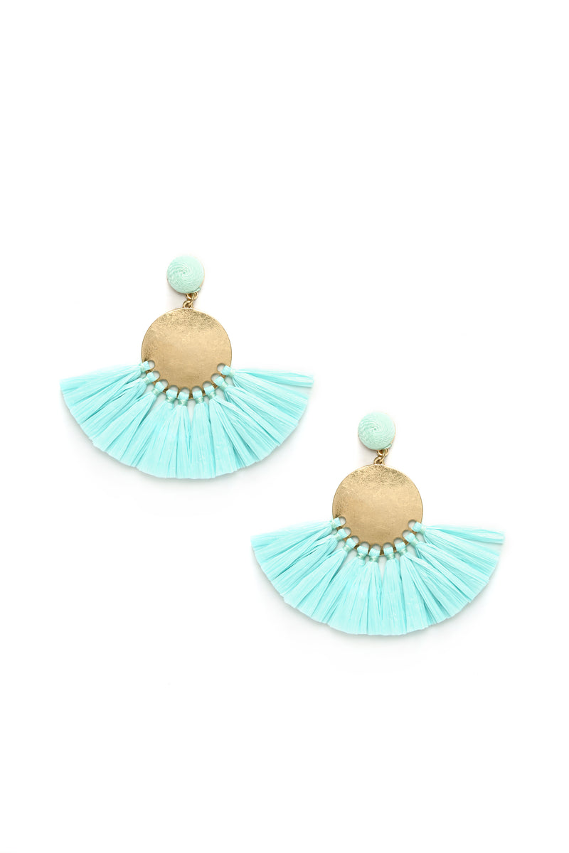 Sabrina Fringe Earrings - Mint
