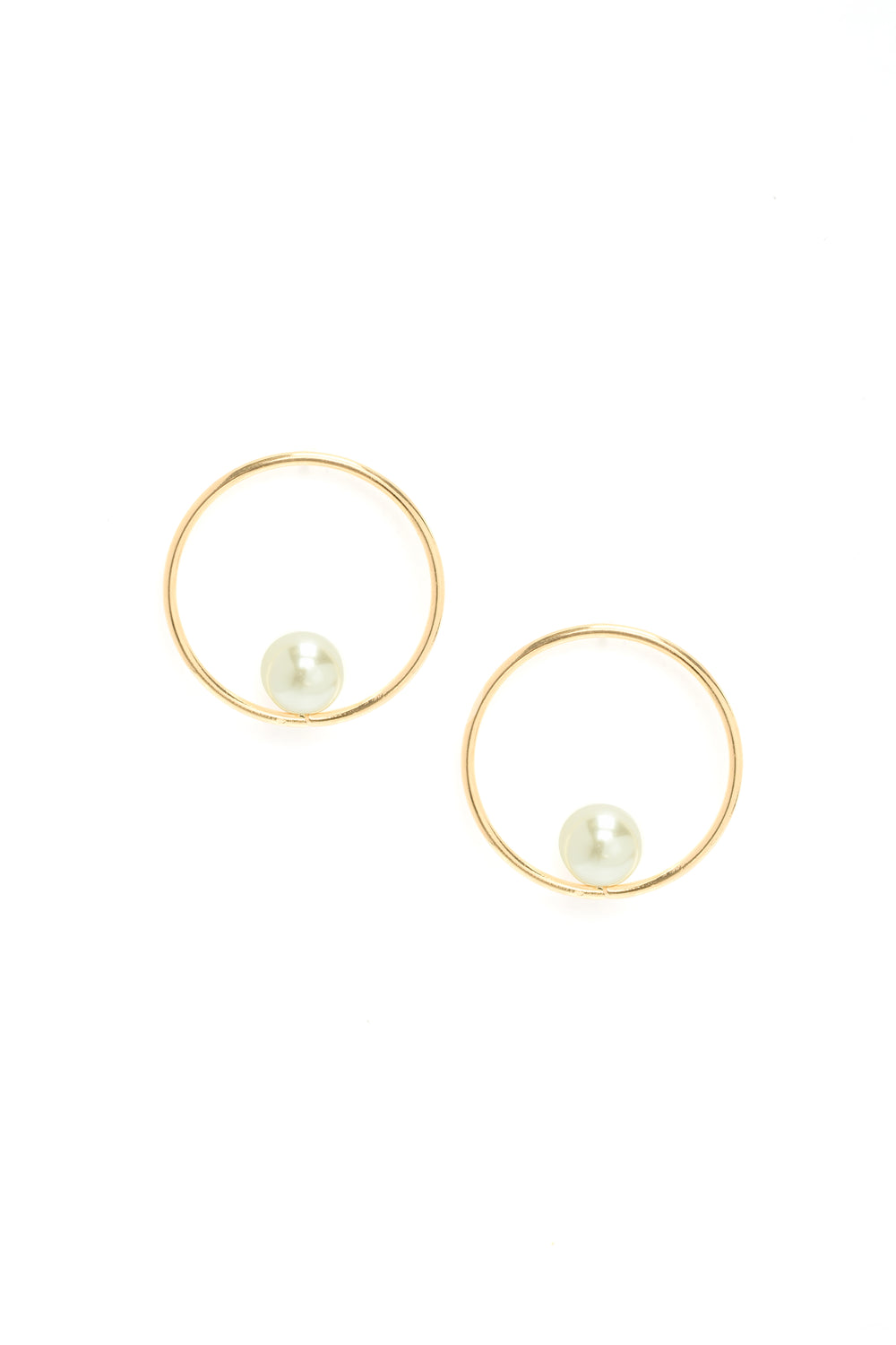 Pearl Talk Hoop Earrings - Gold