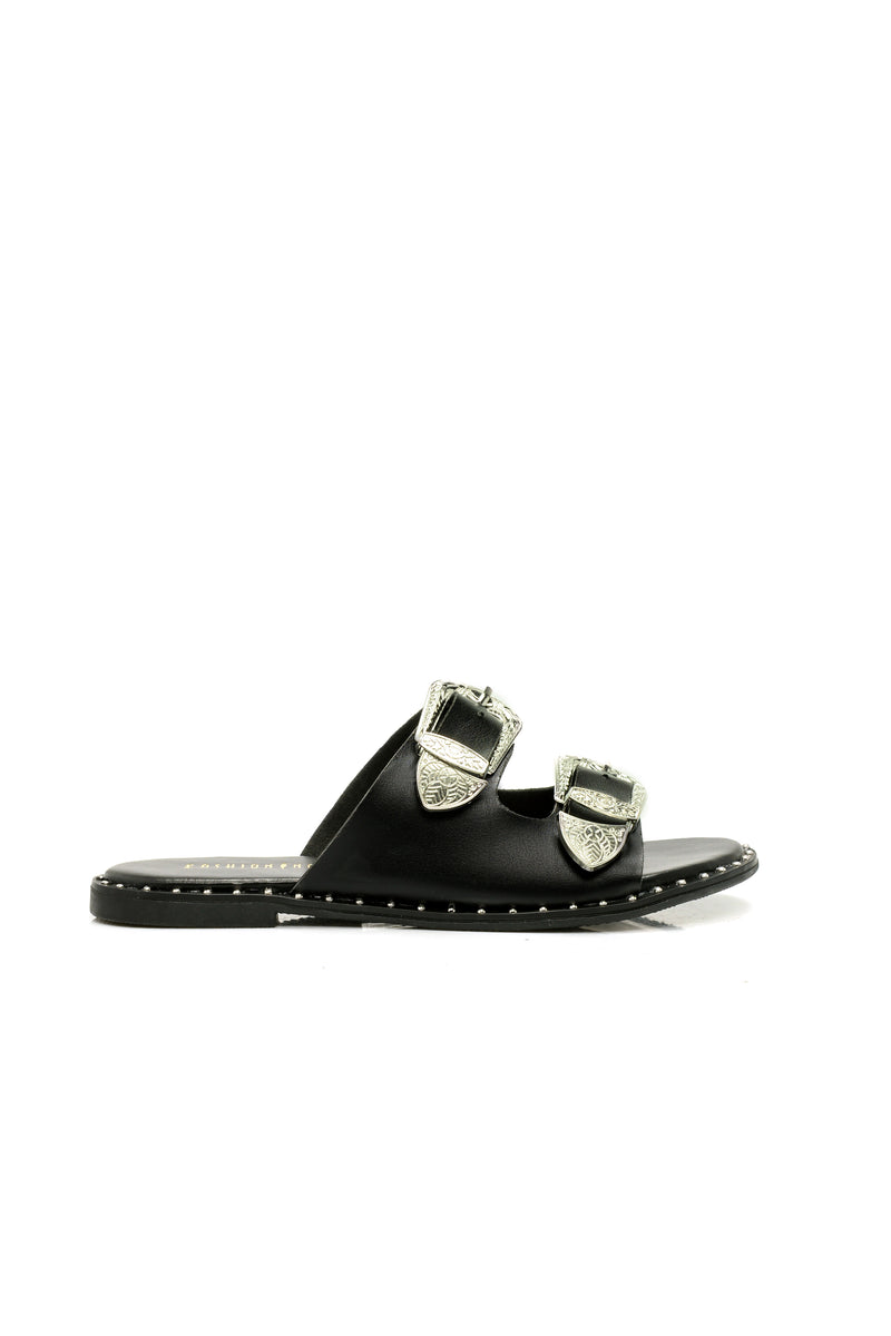 Feel What I Feel Flat Sandal - Black