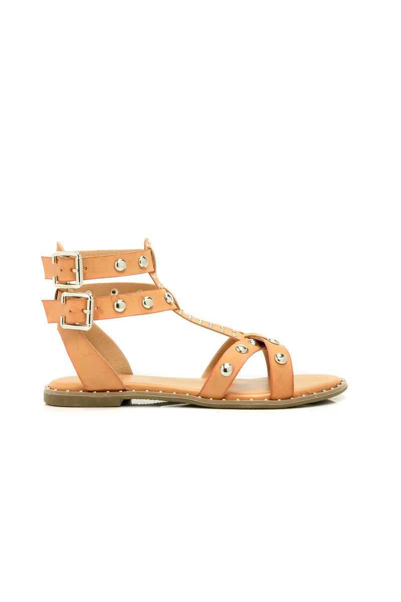Check Yourself Flat Sandal - Tan