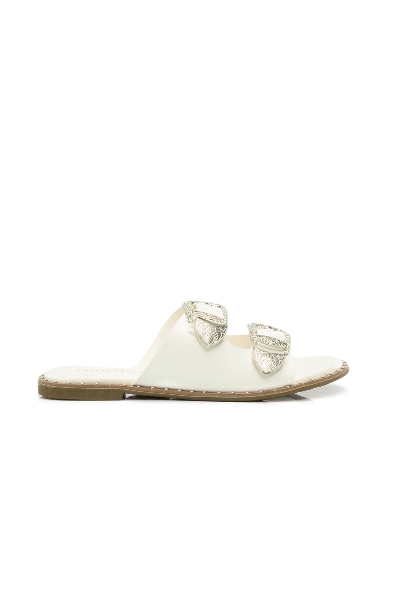 Feel What I Feel Flat Sandal - White