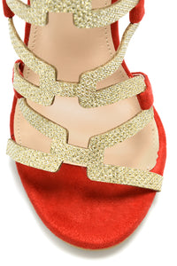 Pick You Up Heeled Sandal - Red/Gold Glitter