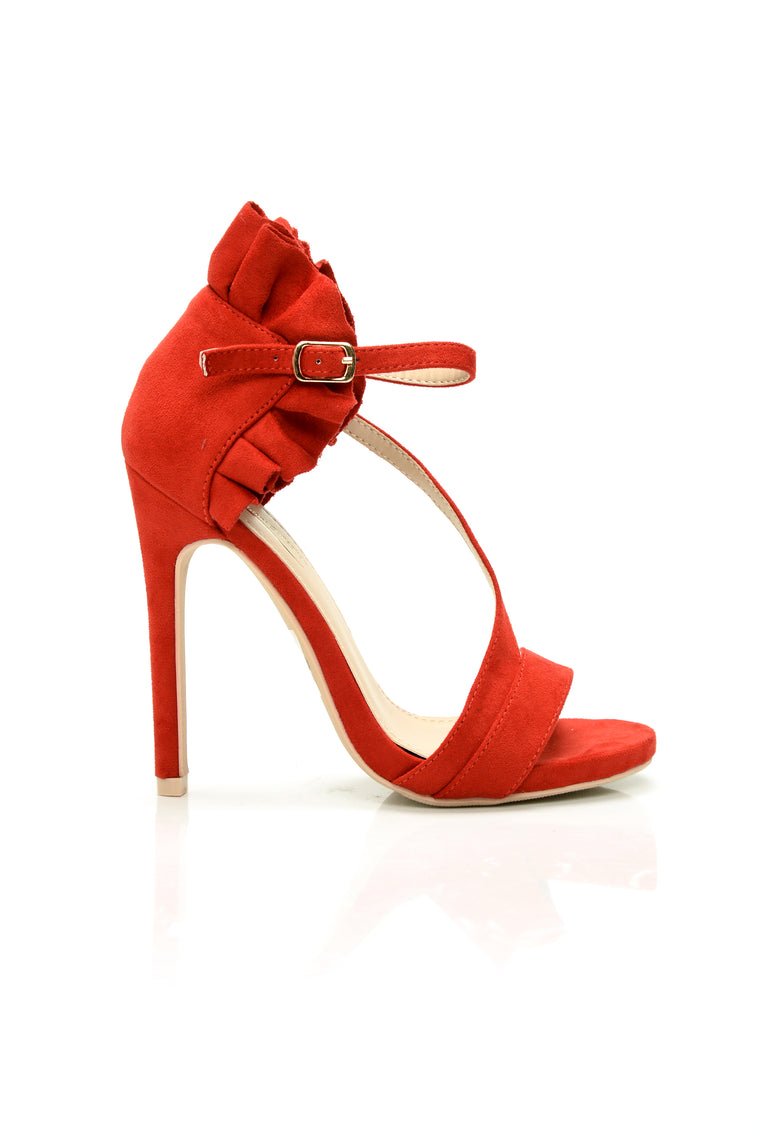 Ruffle Twist Heel - Red