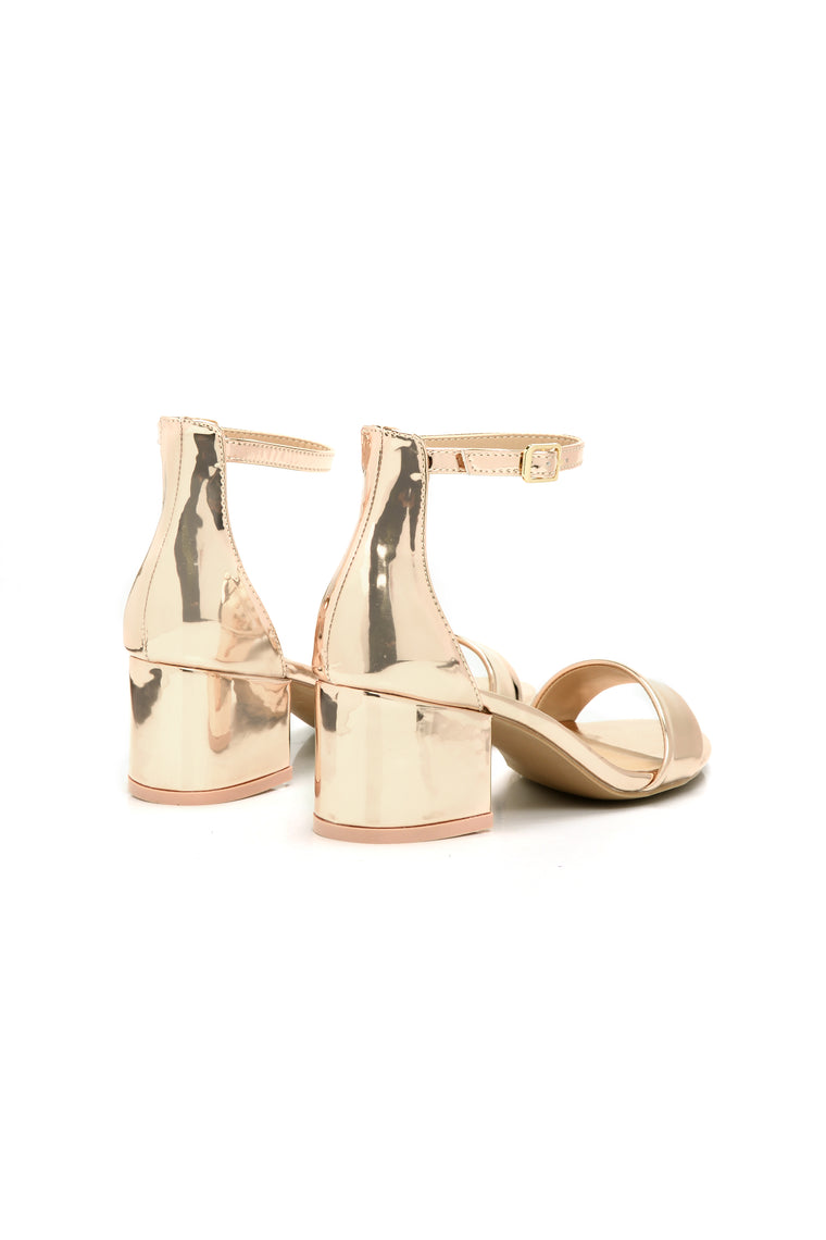 Hey You There Block Heel - Rose Gold