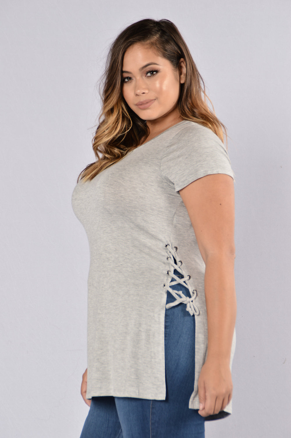 Need Some Interest Top - Heather Grey