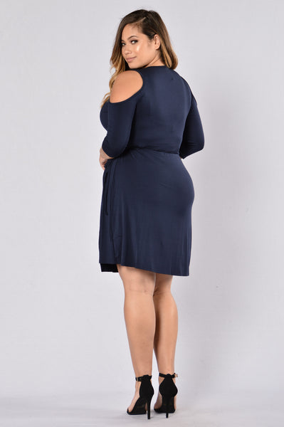 Don't Give Me The Wrap Around Dress - Navy