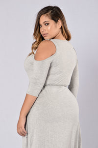 Don't Give Me The Wrap Around Dress - Heather Grey