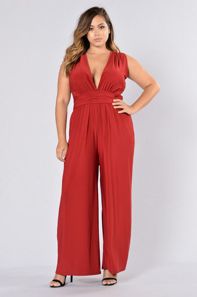 Watch Yourself Jumpsuit - Burgundy