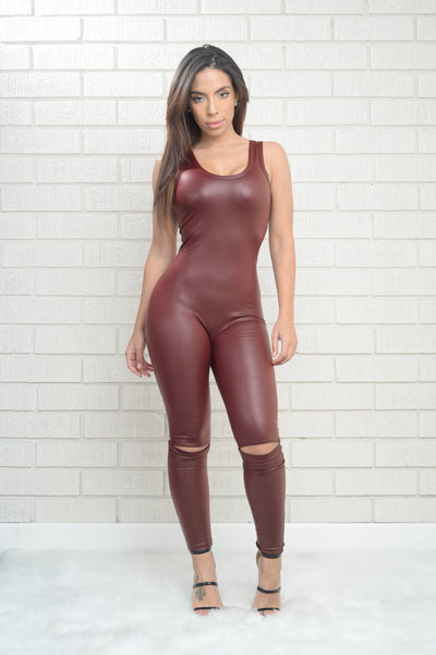 Cat Burglar Jumpsuit - Burgundy
