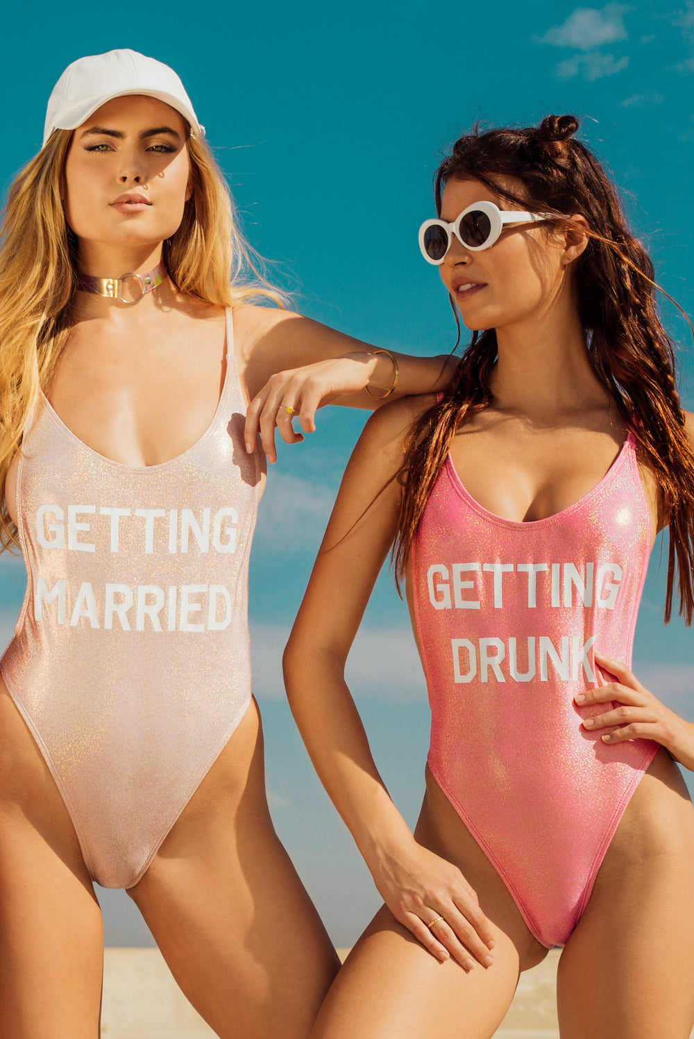 Getting Drunk Glitter Swimsuit - Pink