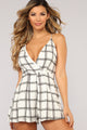 Check Please Plaid Romper - Off White