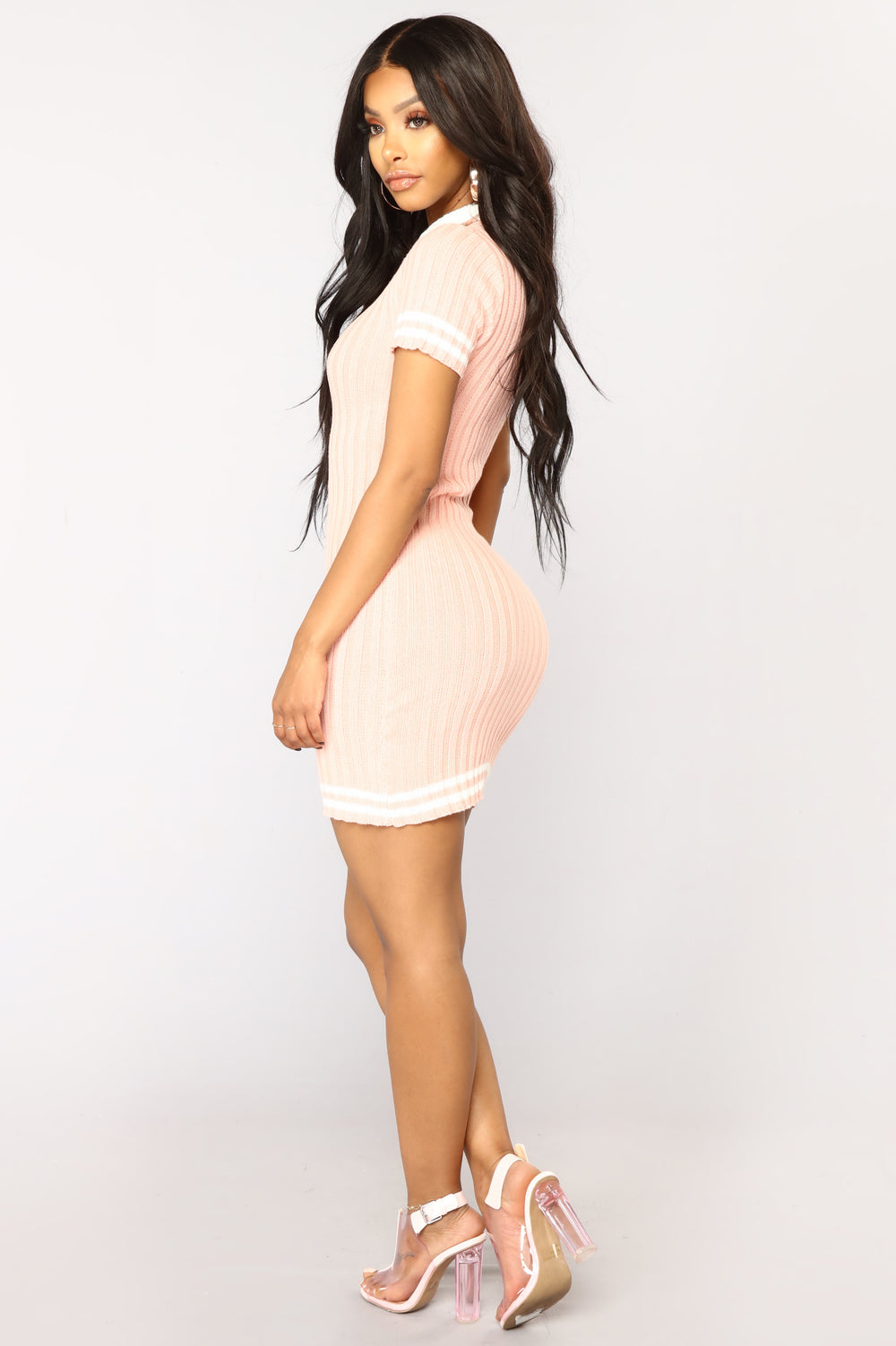 School Is Out Knit Dress - Pink/White