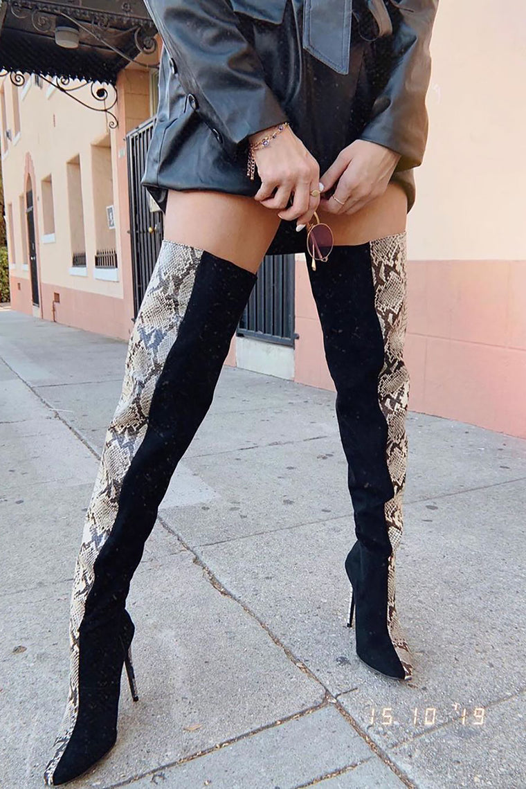 Holy Grail Heeled Boot - Black/Snake
