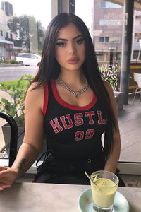Hustle Game Crop Top - Black/Red Angle 1