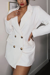 I Mean Business Double Breasted Blazer - White Angle 1