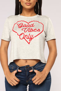 Vibes Mean Everything Crop Top - Heather Grey