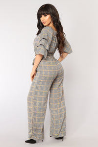Fly First Class Plaid Jumpsuit - Navy