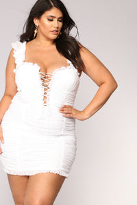 Ruff Around The Edges Ruched Dress - White Angle 6
