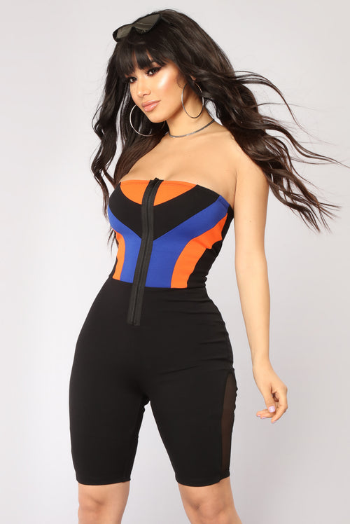 Aerodynamic Colorblock Romper - Black/Royal