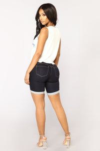 Catalina Booty Lifting Bermuda Shorts - Dark Denim