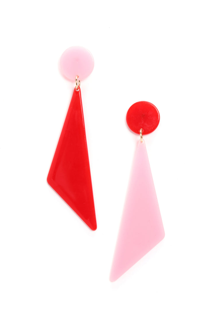 Look At Me Different Earrings - Pink/Red