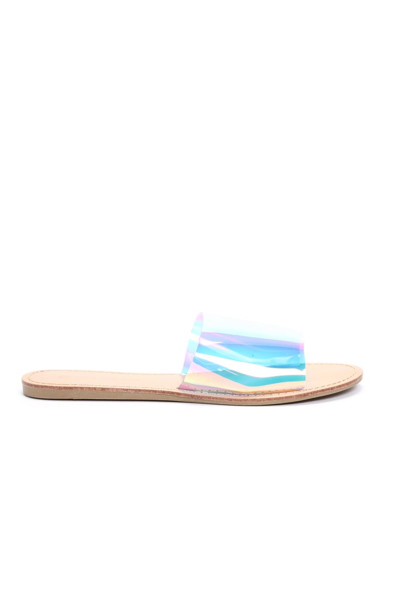 Are We Clear Sandal - Silver Hologram