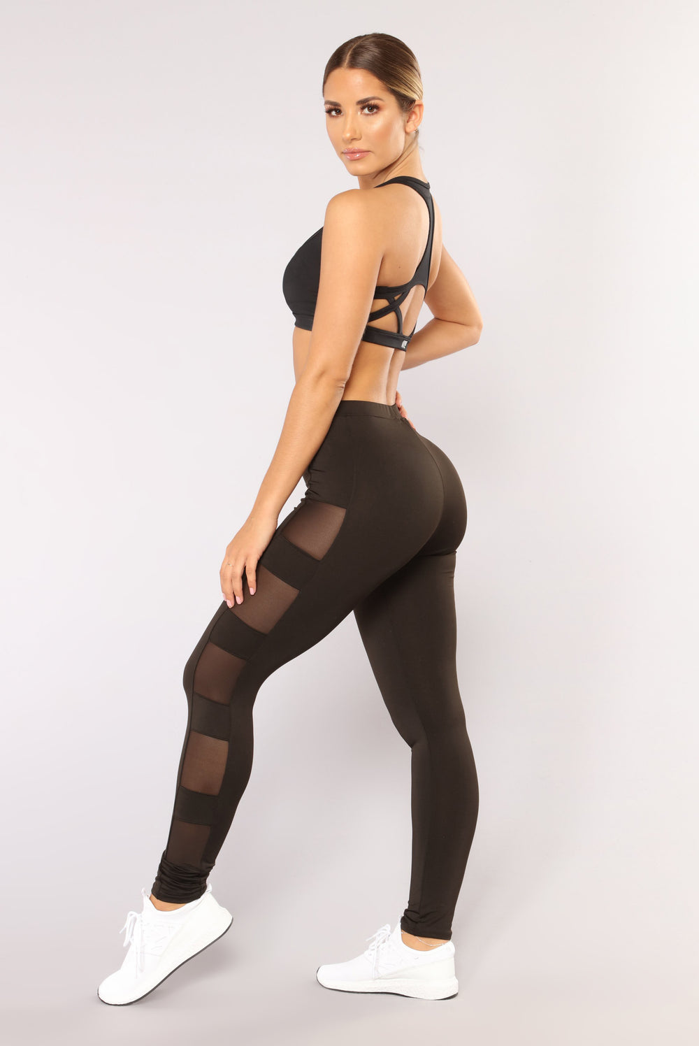 Just A Peek Active Mesh Leggings - Black