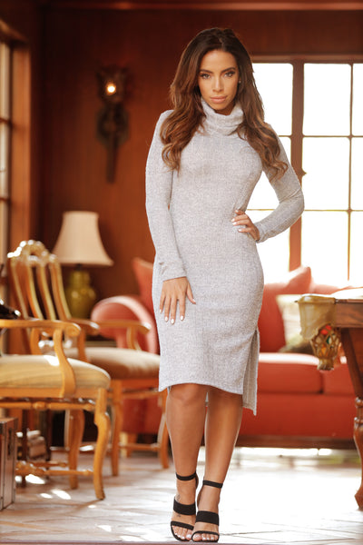 When It's Cold Outside Sweater Dress - Grey