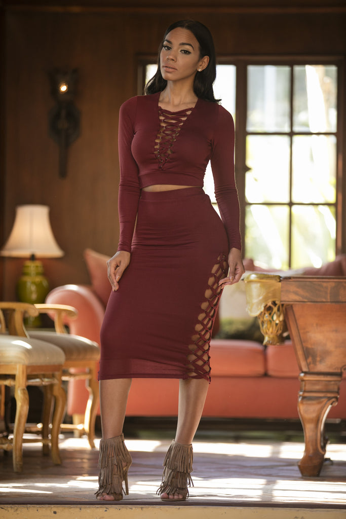 Burning Bridges Skirt - Burgundy