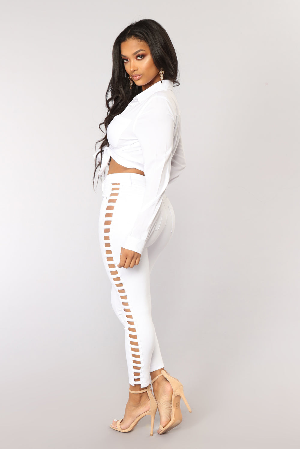 Cut It Out Jeans Ankle Jeans - White