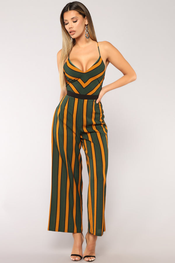 4ec3ac2381 Cheer Captain Stripe Jumpsuit - Hunter Green