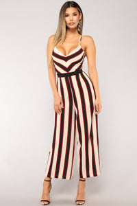 Cheer Captain Stripe Jumpsuit - Taupe/Burgundy