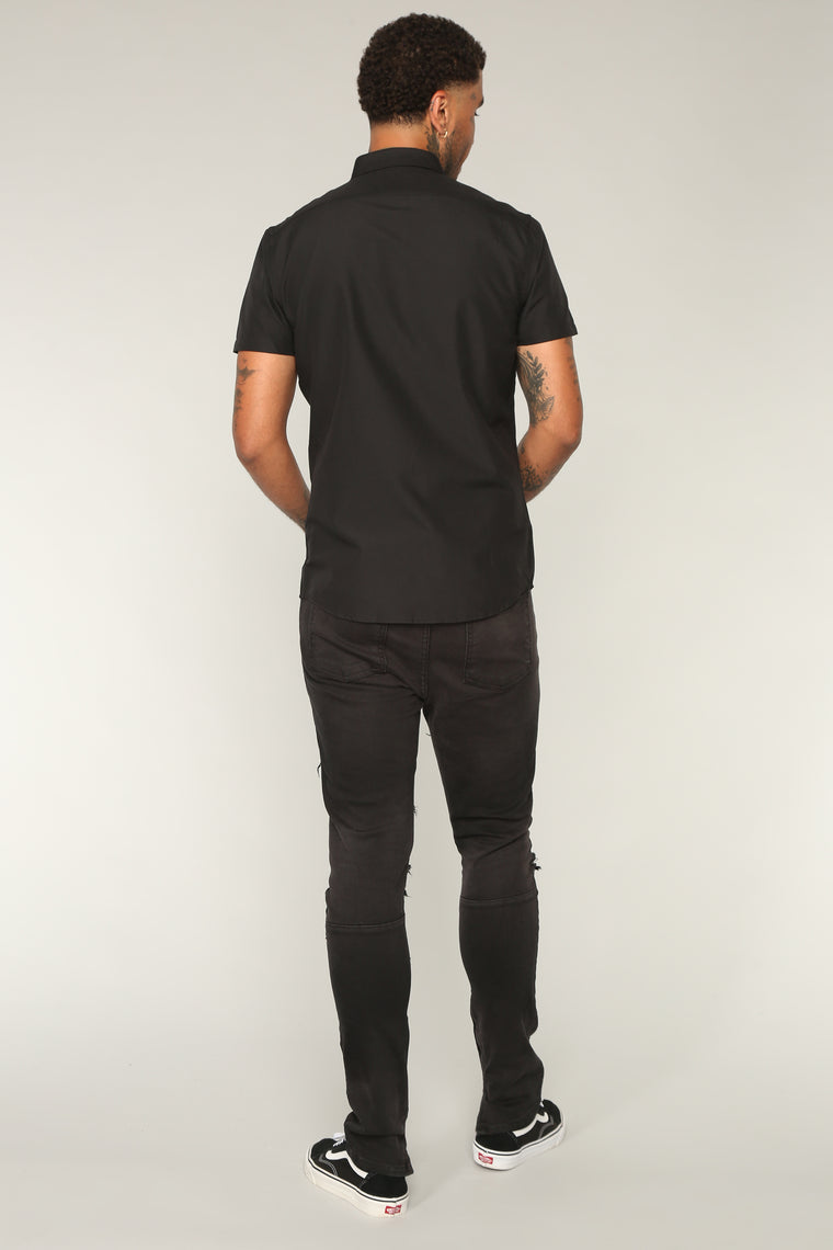 Andres Short Sleeve Woven Top - Black