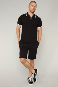 Do Not Cross Short Sleeve Polo - Black