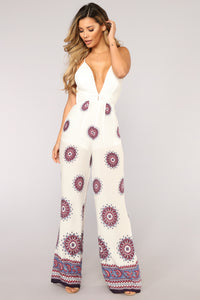 Trouble In Paradise Crochet Jumpsuit - Ivory Angle 1