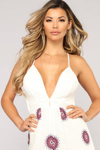 Trouble In Paradise Crochet Jumpsuit - Ivory Angle 2