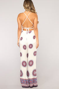 Trouble In Paradise Crochet Jumpsuit - Ivory Angle 5